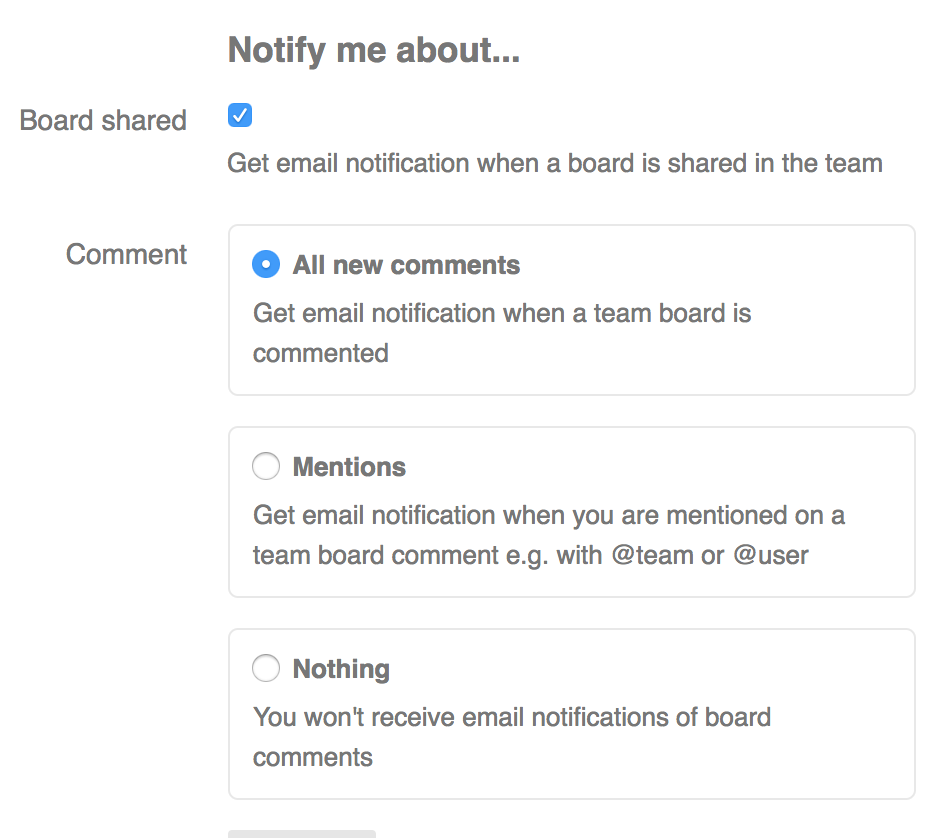 Sketchboard Notification Settings for a user