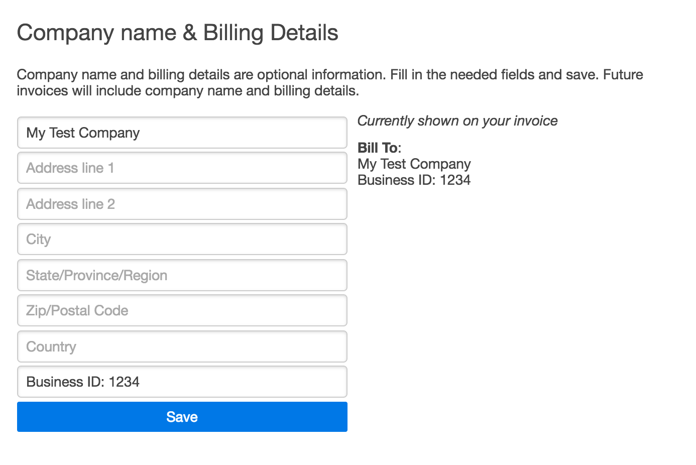 Fill in Company & billing details