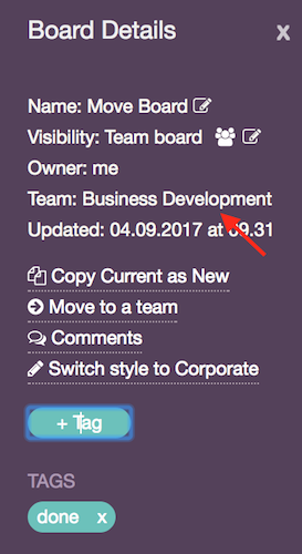 Verify the team that board belongs to